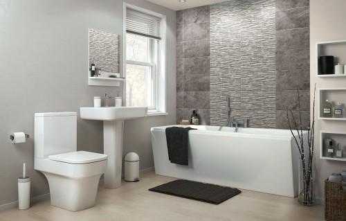 graue wandideen badezimmergestaltung