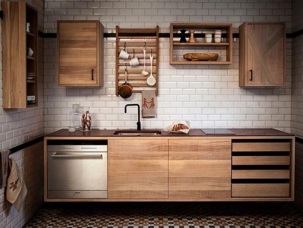 holzschränke küche einrichten skandinavisch