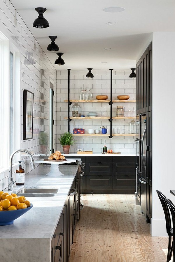 offene regale küche einrichten im skandinavischen stil