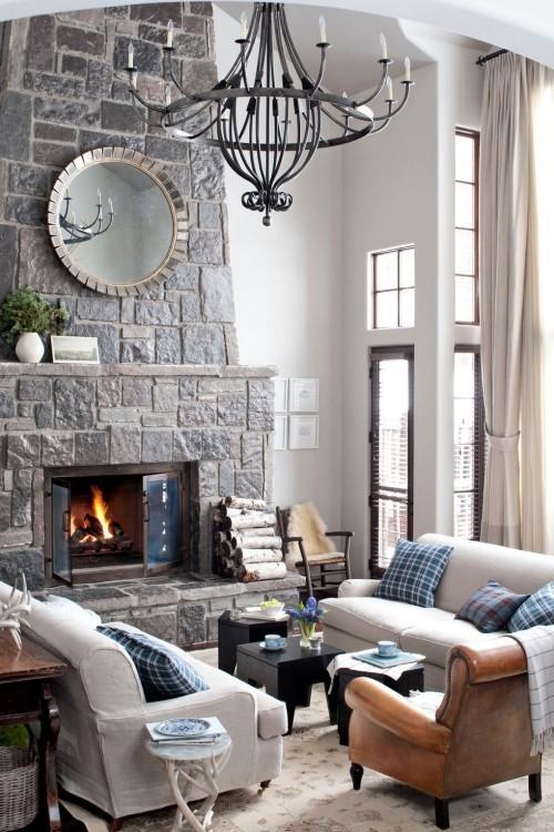rustikaler Kronleuchter aus Metall Wohnzimmer im Landhausstil