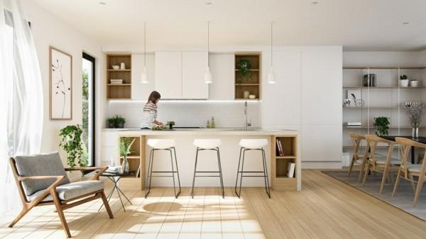 scandi küche einrichten weiße schränke bartheke