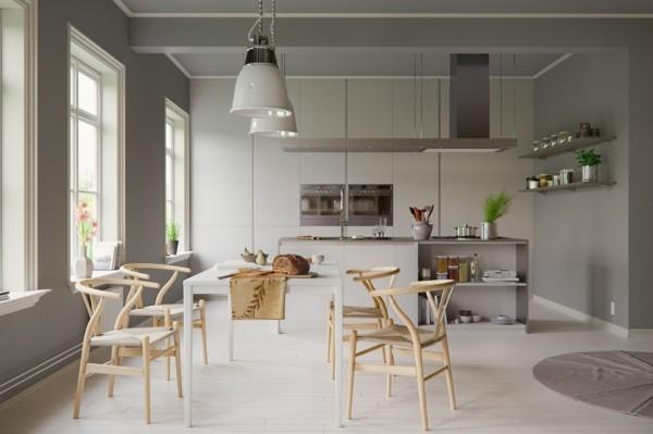 scandi küche einrichten weißer esstisch desigern stühle-resized
