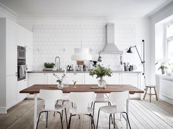 scandi style küche einrichten holzboden