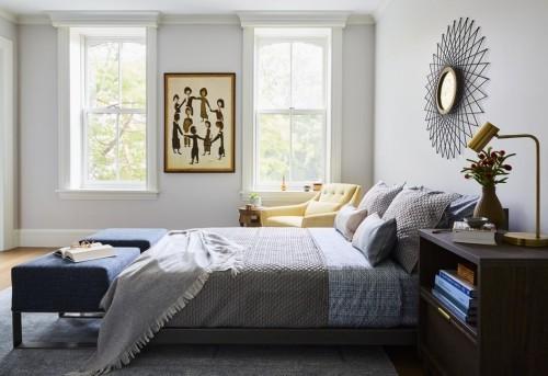 schlafzimmereinrichtung dunkelblaue schattierungen