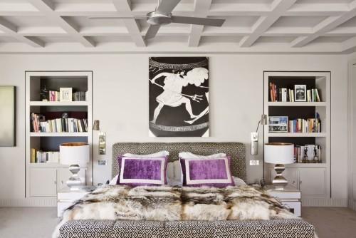 schlafzimmereinrichtung grelles lila - tolle idee