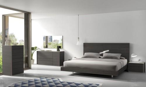schlafzimmereinrichtung teppich mit geometrischen figuren