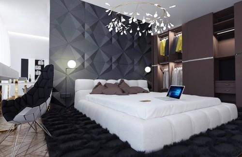 schwarzer teppich schlafzimmereinrichtung