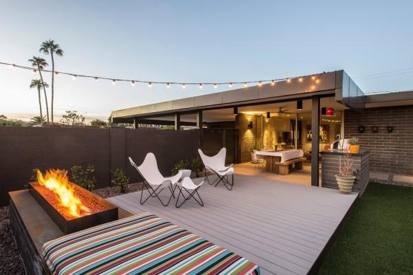 simple Gestaltung draußen rechteckige moderne Feuerstelle