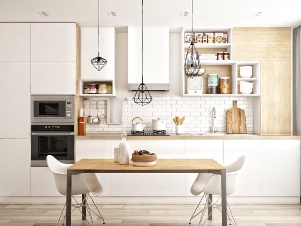 skandinavische küche einrichten helles holz weiße fronten