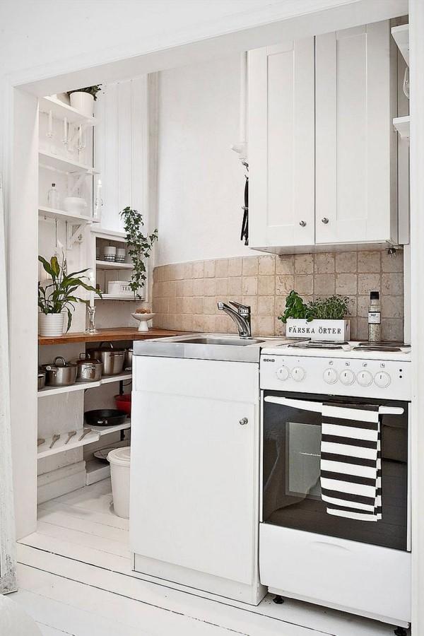 skandinavische küche einrichten weiße schränke zimmerpflanzen-resized