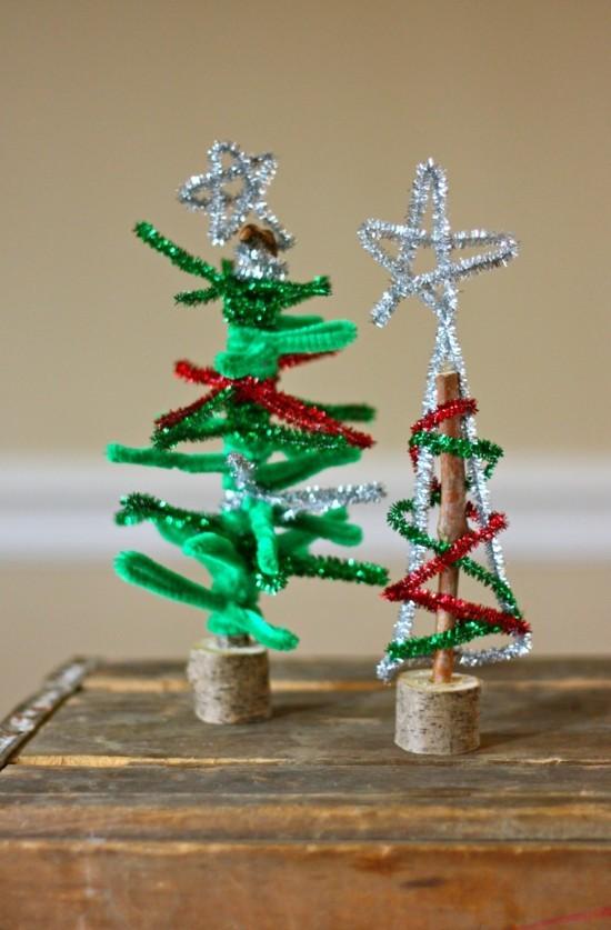 tannenbaum weichnachtsdeko basteln mit pfeifenputzer