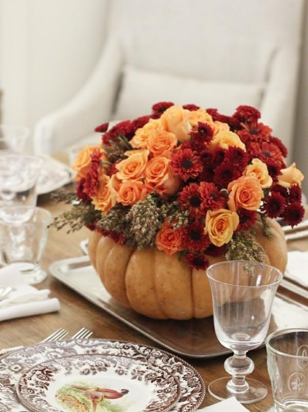 tischdeko herbst kürbis vase herbstblumen