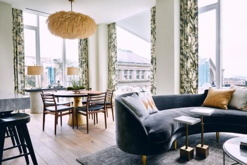 verschiedene zonen im raum sofa design