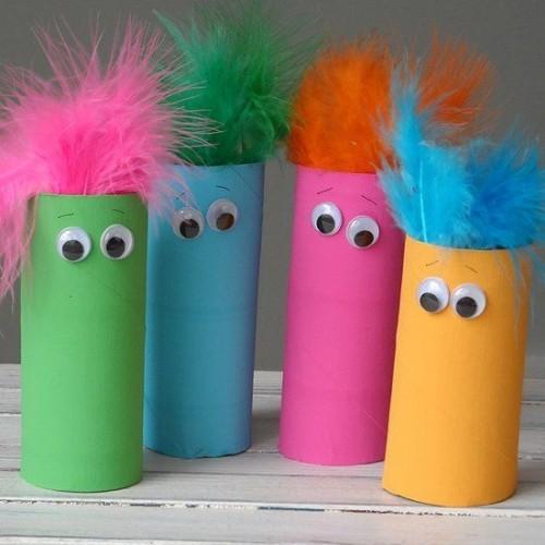Basteln mit Klopappierrollen einfache ideen in herbstfarben