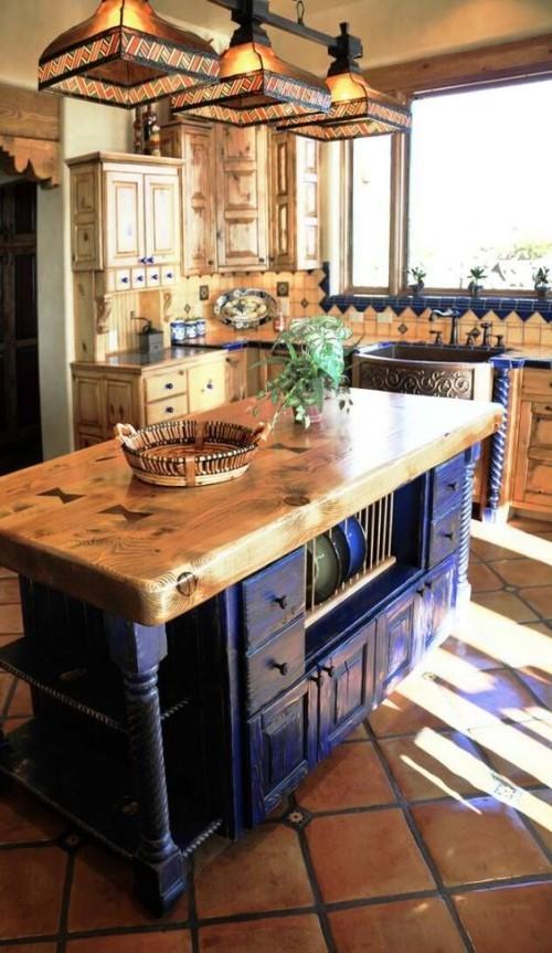 Farbenfroh die Küche gestalten Marineblau und Holzfarben