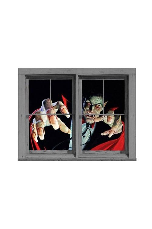 Gruselige Halloween Fensterdeko Fensterbilder Sensenmann Zombie WOW-Effekt