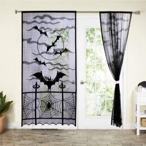 Halloween Fensterdeko Spinnen Spinnenweben Stil