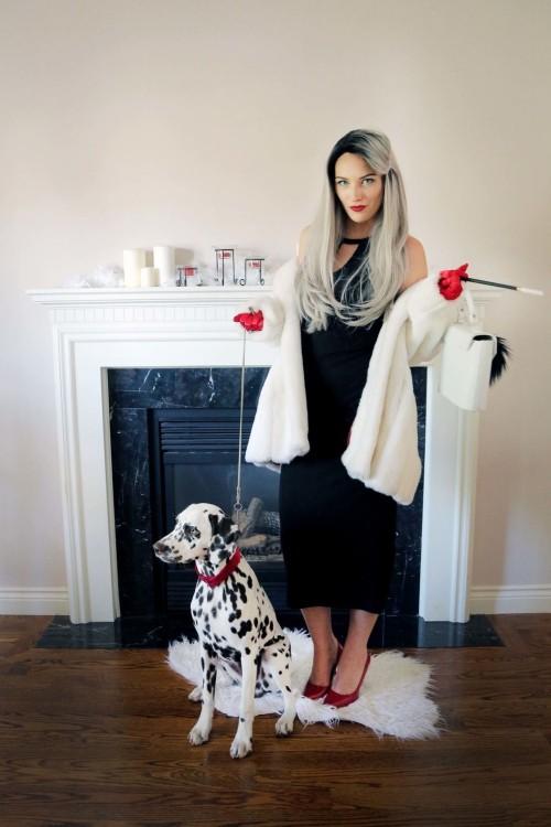 Halloween Kostüme für Frauen Hund und Liebhaberin der 101 Dalmatiner