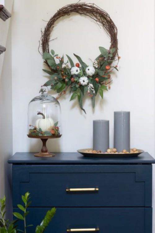 Herbstkränze Idee für eine elegantes Wohnzimmer