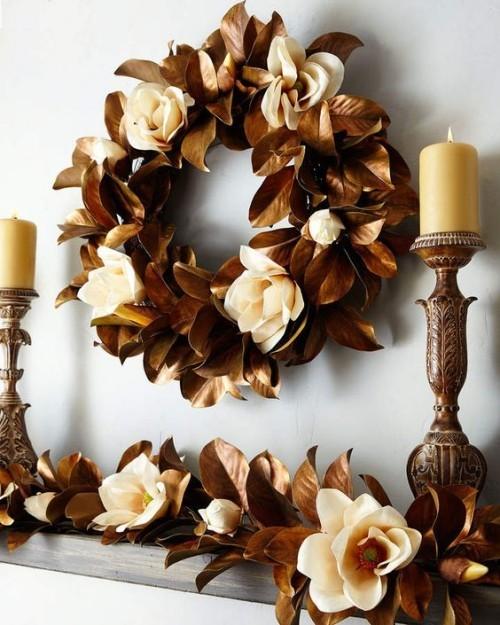 Herbstkränze aus glanzvoller Dekoration