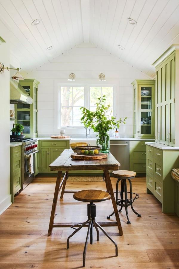 Küchendesign Ideen Pastellgrün Holzfarbe