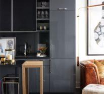 Modernes Küchendesign in dunklen Farben versinnbildlicht die neue Raumästhetik