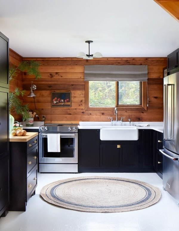 Küchendesign in dunklen Farben schwarze Küchenschränke