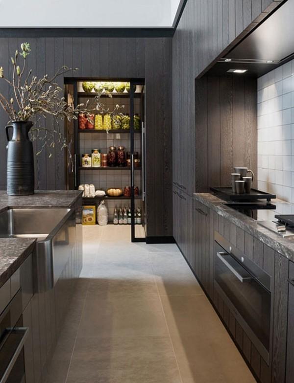 Küchendesign in dunklen Farben