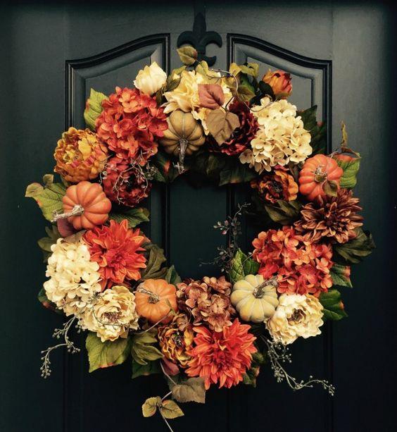 Kürbisse und andere tolle Blüten Herbstkränze