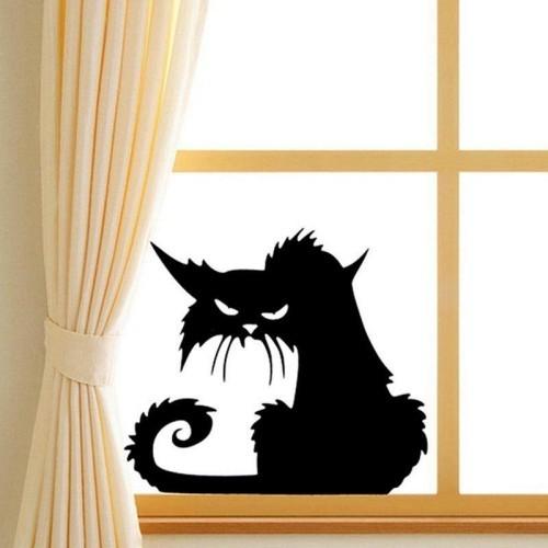 Passende Halloween Fensterdeko wenigstens eine schwarze Katze Fensterbild