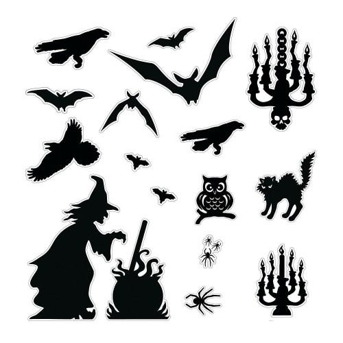 Schattenbilder Halloween Fensterdeko schwarze Raben Fledermäuse Katze Eule Hexe zwei Kerzenständer
