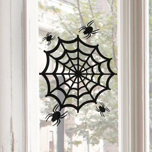 Schwarze Spinnen Spinnennetz gruselige Halloween Fensterdeko