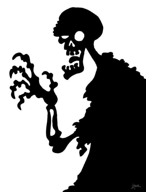 Skelett Schattenbild gruselige Halloween Fensterdeko