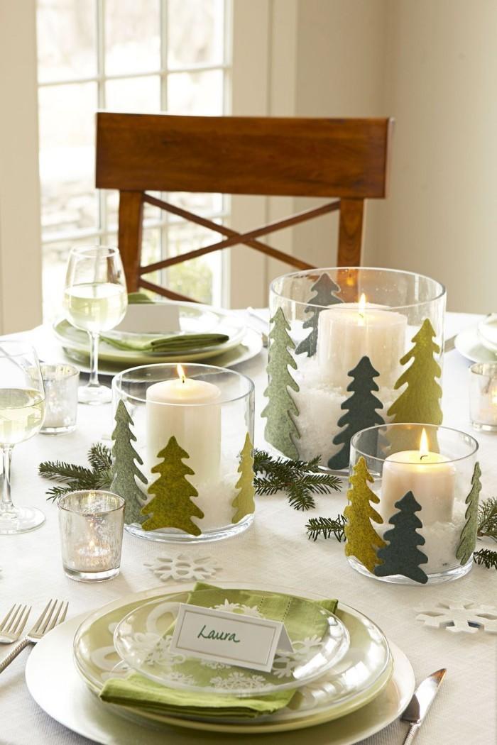 Tischdeko Ideen zu Weihnachten Platzkarten Arrangement in Hellgrün