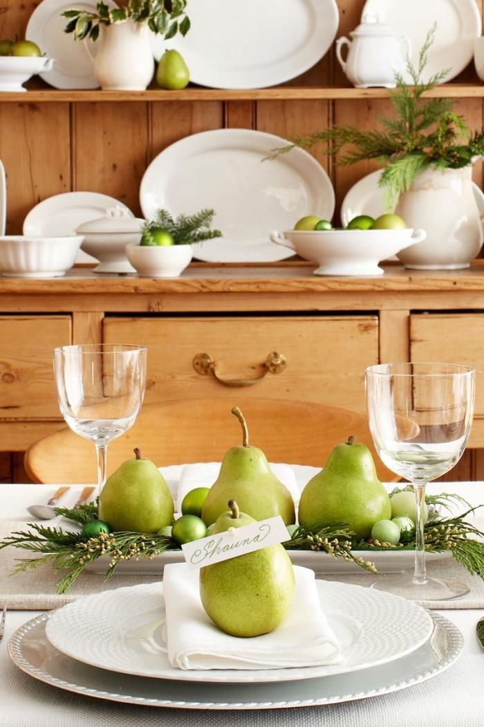 Tischdeko Ideen zu Weihnachten grünes Obst schöner Blick