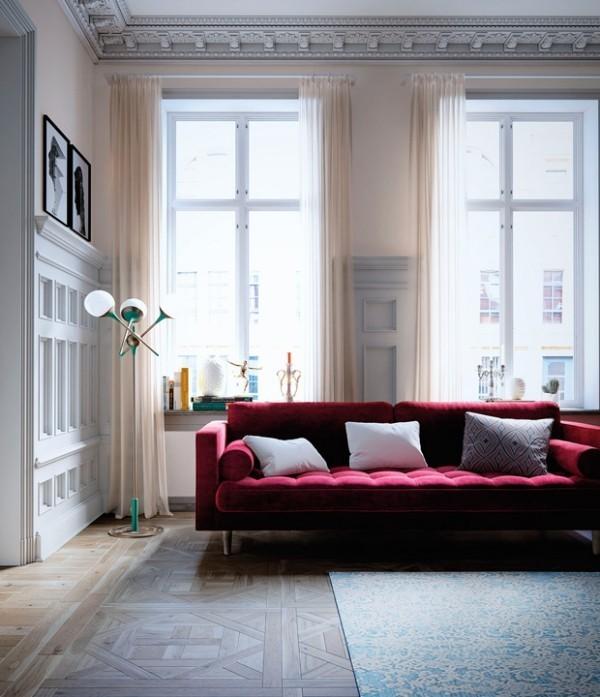Trendfarben 2018 Cranberry-Rot aussagekräftige Farbe Sofa Blickfang