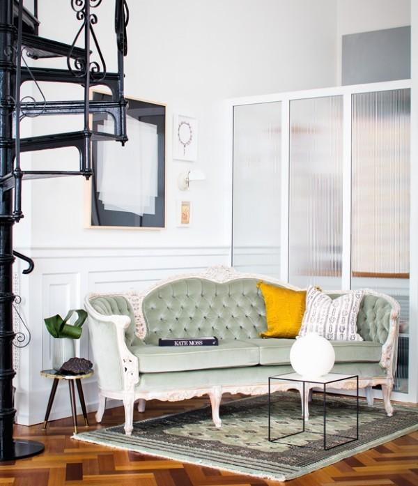 Trendfarben 2018 gepolsterte Sitzmöbel in Retro Stil formschön mit Samt graugrün