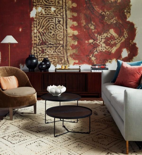 Wandteppich in tiefrotem Farbton Gemütlichkeit pur zuhause