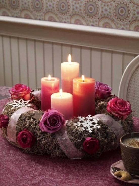 adventskranz selber basteln mit konservierten rosen