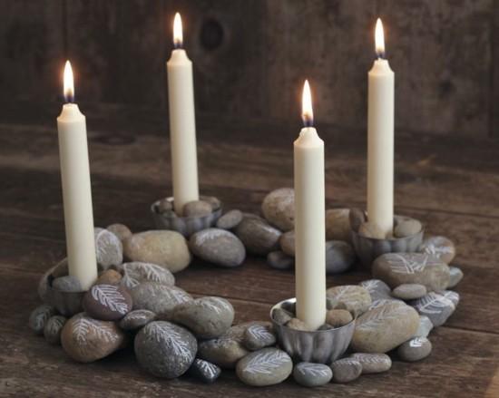adventskranz selber basteln mit steinen