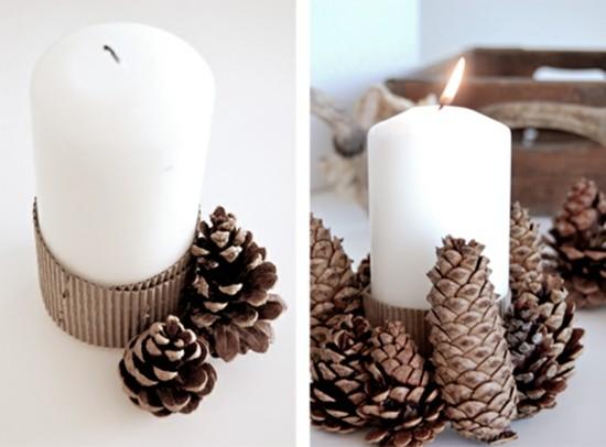 adventskranz selber basteln weiße kerzen zapfen