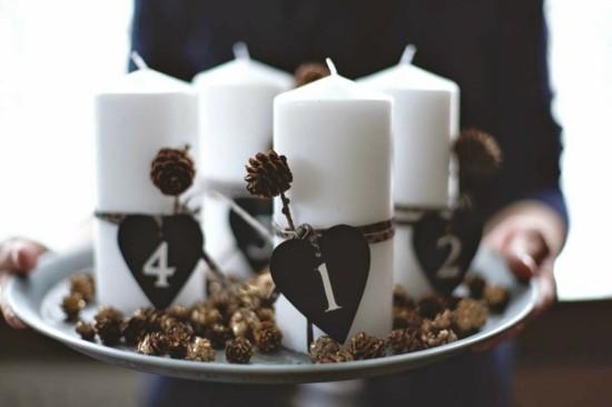 adventskranz selber basteln zapfen weiße stumpenkerzen
