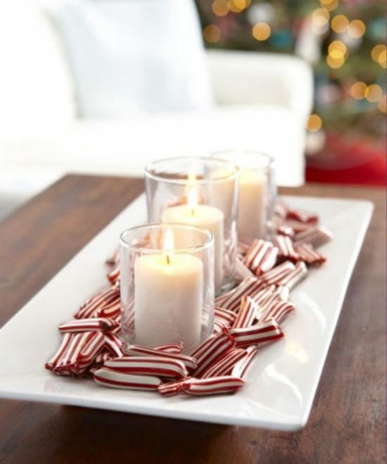 adventskranz selber basteln zuckerstangen bonbons