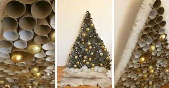 alternativen weihnachtsbaum basteln mit klorollen