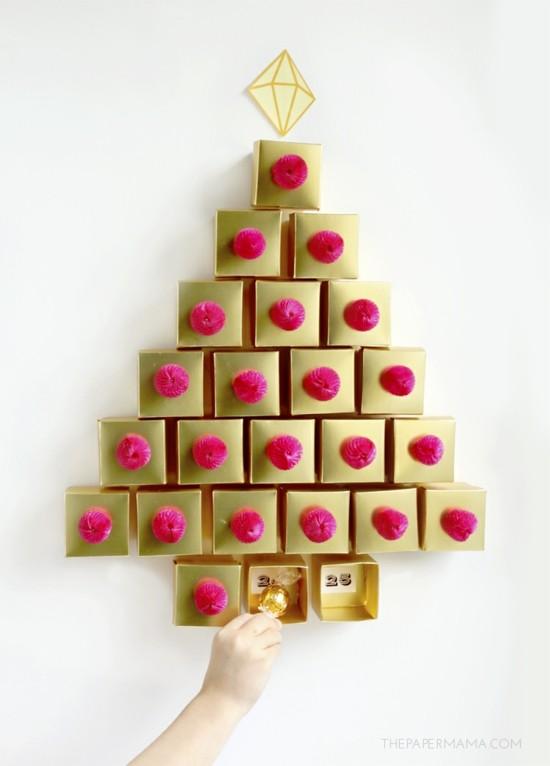 ausgefallene adventskalender selber basteln goldene boxen
