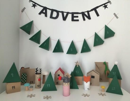 ausgefallene adventskalender selber basteln klorollen weihnachtsdeko