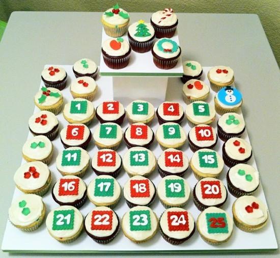 ausgefallene adventskalender selber basteln mit cupcakes