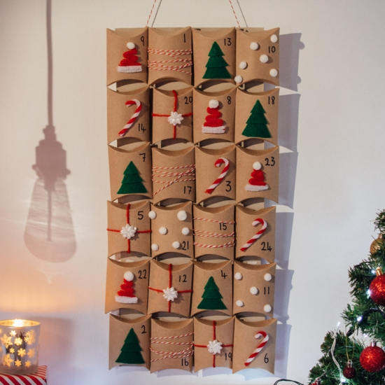 ausgefallene adventskalender selber basteln mit karton