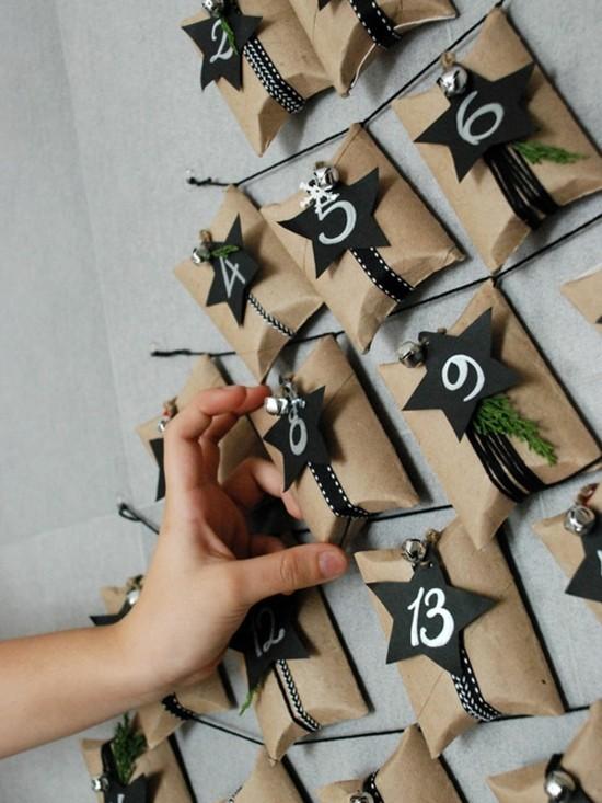 ausgefallene adventskalender selber basteln mit klopapierrollen