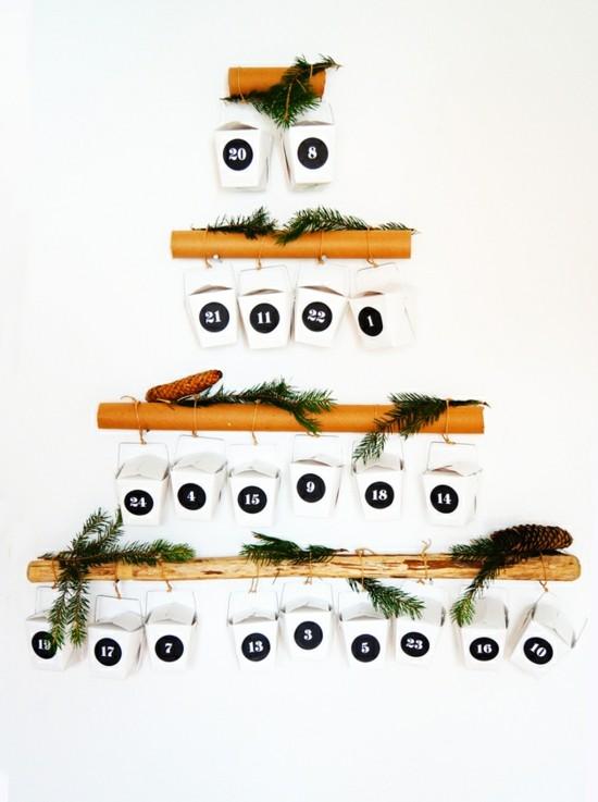 ausgefallene adventskalender selber basteln tannenbaum